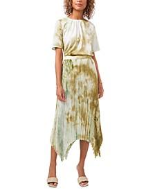 Tie-Dyed Pleated Handkerchief-Hem Skirt