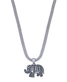 """Elephant Pendant 18"""" Necklace in Fine Silver Plate"""