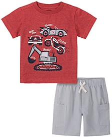 Toddler Boys 2-Piece Cars and Trucks Short Sleeve T-shirt and Striped Shorts Set