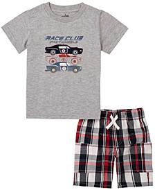 Toddler Boys 2-Piece Racer Motif Short Sleeve T-shirt and Plaid Shorts Set