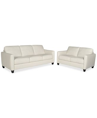 Emilia 2-Piece Leather Sofa Set (Sofa And Loveseat) - Furniture