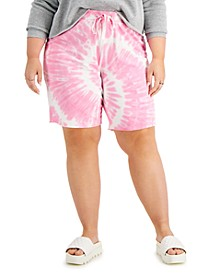 Trendy Plus Size Tie-Dyed Shorts