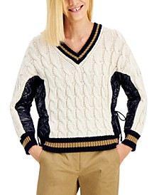 Dalida Cable-Knit Faux-Leather Sweater
