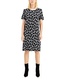 Metallic-Print Shift Dress