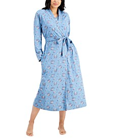 Cotton Long Floral-Print Wrap Robe, Created for Macy's