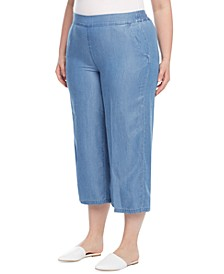 Plus Size Pull-On Cropped Tencel Pants