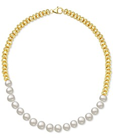 """Cultured Freshwater Pearl (10mm) & Gold-Plated Hematite Bead 18"""" Statement Necklace"""