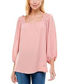 Women's Smocked Shoulder 3/4 Sleeve Blouse