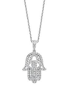 "EFFY® Diamond Hamsa Hand 18"" Pendant Necklace (1/2 ct. t.w.) in 14k White Gold"