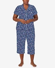 Plus Size Ditsy Floral Capri Pants Pajamas Set