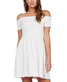 Juniors' Off-The-Shoulder Smocked Dress