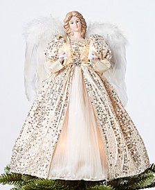 Lighted Angel Tree Topper with Ivory and Gold Sequin Dress, Created for Macy's