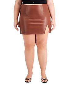 Trendy Plus Size Faux-Leather Mini Skirt