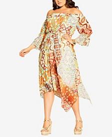 Plus Size Handkerchief Saffron Dress