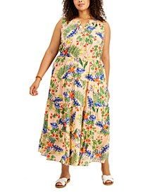 Plus Size Printed Cotton Maxi Dress, Created for Macy's