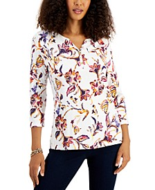 Petite Ornate Paisley Cotton Printed Henley Top, Created for Macy's