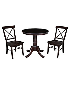 """30"""" Round Top Pedestal Dining Table with 2 X-Back Chairs, 3 Piece Dining Set"""