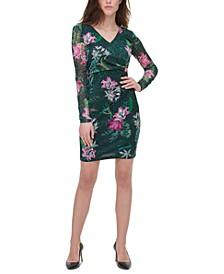 Printed Side-Gathered Dress