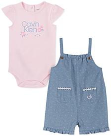 Baby Girls 2-Pc. Bodysuit & Polka-Dot Chambray Sunsuit