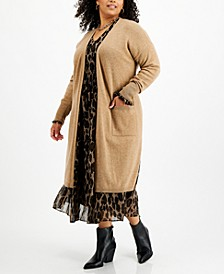 Plus Size Open-Front Long Cashmere Wool Blend Cardigan, Created for Macy's