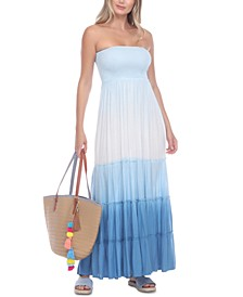Ombré Strapless Tie-Dye Cover-Up Dress