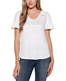 Copper Label V-Neck Top with Ruffle Sleeve