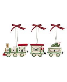 Christmas Tree Train Set Ornaments, 3 Pieces