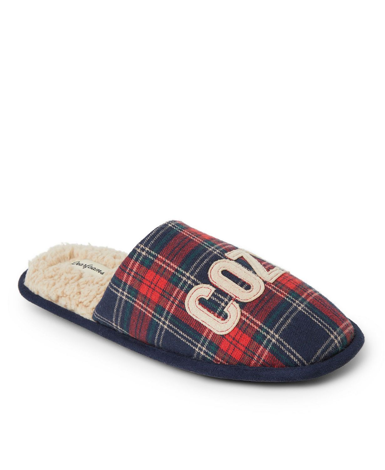 Plaid sherpa lined scuff slippers with COZY stitched on the suppers. #fallplaid #madforplaid #sherpaslippers