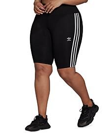 Plus Size Side-Stripe 1/4 Leggings