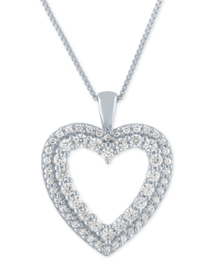Lab-Created Diamond Heart Pendant Necklace (3/4 ct. t.w.) in Sterling Silver