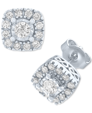Lab-Created Diamond Square Cluster Stud Earrings (1/2 ct. t.w.) in Sterling Silver