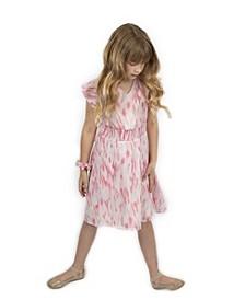 Big Girls Metallic Print Dress with Matching Scrunchie