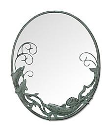 Dolphin Trio Antique Wall Mirror