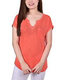 Women's Short Sleeve Burnout Top with Stones