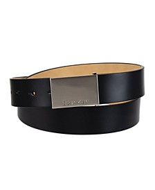 Men's Casual Belt with Engraved Plaque Buckle