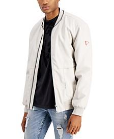 Men's Faux-Leather Bomber Jacket