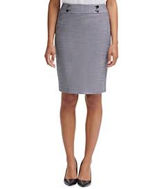 Button-Waist Pencil Skirt