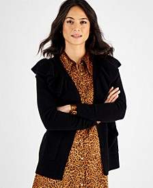 Cashmere Ruffle-Trim Cardigan, In Regular and Petites, Created for Macy's