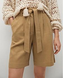Linen Bow Bermuda Shorts