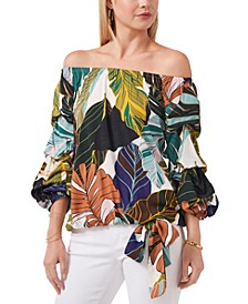 Printed Ruffled-Sleeve Off-the-Shoulder Top