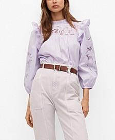 Lace Panel Cotton Blouse