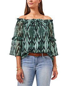 Abstract-Print Off-The-Shoulder Top