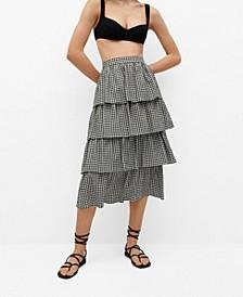 Ruffle Gingham Check Skirt