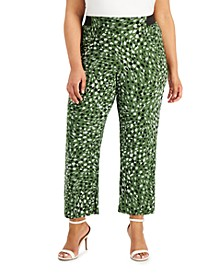 Plus Size Printed Pull-On Wide-Leg Pants
