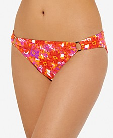 Juniors' Bold Bouquet Printed Ring Bikini Bottoms, Created For Macy's
