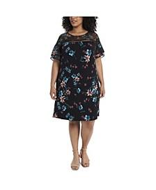 Plus Size Mix Media Expressive Lilies Knit Dress