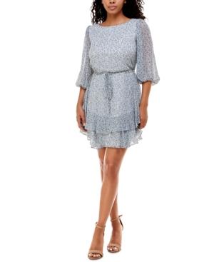 Juniors' Printed Ruffled A-Line Dress