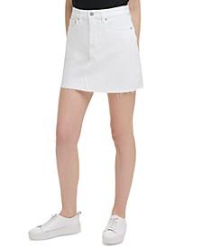 Basic White A-Line Jean Skirt
