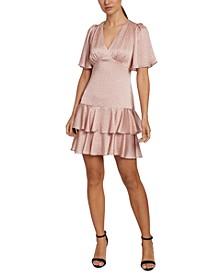 Puff-Sleeve Ruffled Sheath Dress