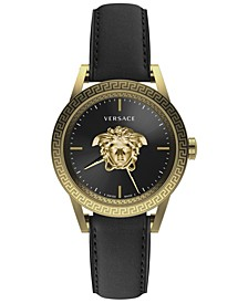 Men's Swiss Palazzo Empire Black Leather Strap Watch 43mm